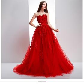 蕾丝小拖尾新娘婚纱韩式抹胸复古红色礼服