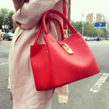 【红色礼遇】新款气质简约手提单肩锁扣子母包红色新娘结婚包