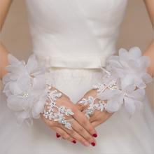 婚礼手套新娘手套伴娘手套婚纱配饰白色长款蕾丝绣花露指钉珠