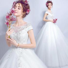 性感透视蝴蝶露背公主新娘修身齐地手工蕾丝订钻石婚纱礼服
