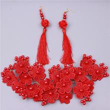 新娘头饰品韩式结婚纱礼服配饰发饰红色蕾丝手工头花饰品包邮