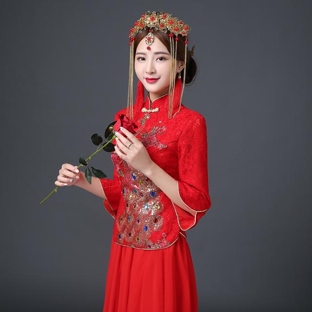 新娘古装发饰 秀禾服配饰 结婚礼服旗袍头饰品
