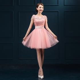 时尚小礼服2新款韩版晚礼服伴娘服短款礼服女蓬蓬群女