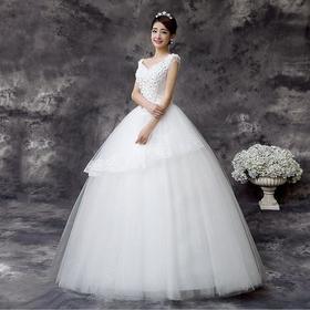 韩式新款新娘礼服 修身白色V领蕾丝花片新娘婚纱 双肩齐地婚纱