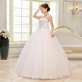 韩版婚纱 白色长款时尚高贵齐地婚纱 修身绑带双肩婚纱礼服
