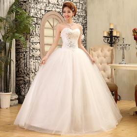 新款新娘礼服 韩版长款齐地婚纱 绑带抹胸修身无袖婚纱礼服