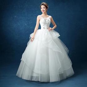 新款韩版公主双肩显瘦蓬蓬裙新娘婚纱结婚礼服裙MD91