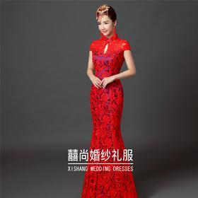 新款旗袍红色新娘礼服 复古敬酒服秀禾服伴娘鱼尾162