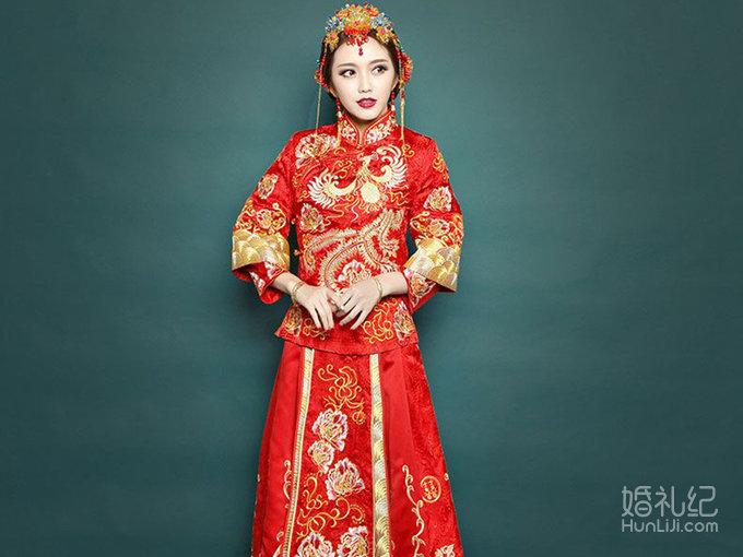 中式绣禾服,婚纱礼服设计作品欣赏,婚礼纪 hunliji.com