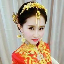 眉心坠新款新娘头饰金色结婚饰品中式婚礼复古金色发饰敬酒服配饰