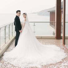 定制】陈妍希明星同款婚纱礼服新娘韩式一字肩抹胸孕妇蕾丝大拖尾