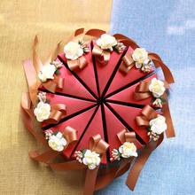 【50份起订】结婚创意喜糖盒子 手工红色花朵三角喜糖纸盒包装