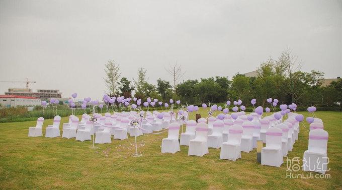 小型户外婚礼,粉色紫色系列,简单温馨婚礼