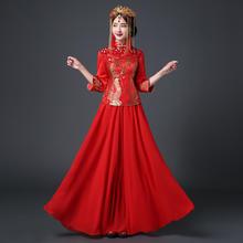 【送模特头饰】中式礼服新娘敬酒服旗袍长款修身红色结婚新娘嫁衣