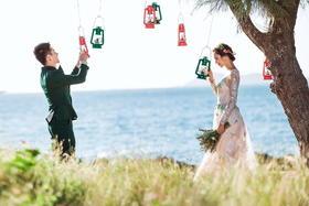 小清新婚纱照 #波西米亚旅拍婚纱摄影# 情人湾----筑梦