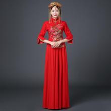 【送模特头饰】中式礼服女秀禾服新娘敬酒服旗袍长款复古喜服嫁衣