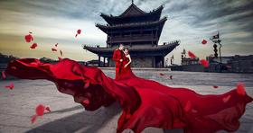 「S·ONE 中式复古婚纱客片」城墙红晚