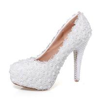 纯白珍珠婚鞋水晶钻新娘鞋超高跟防水台单鞋拍婚纱照细跟红色女鞋