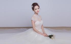 萝纱礼服|水晶爱情香槟色高端钉珠婚纱