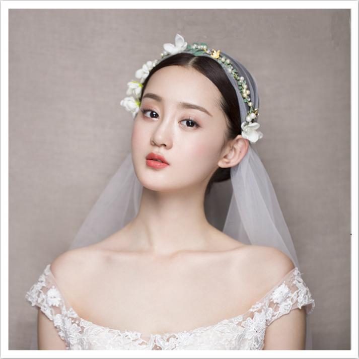 新娘中式手工多用花环皇冠发带唯美风格花环头纱礼盒包装