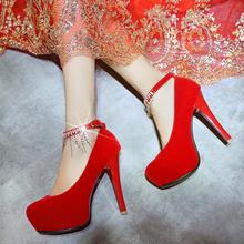 新款新娘鞋水钻流苏结婚鞋红色粗高跟防水台婚纱礼服鞋