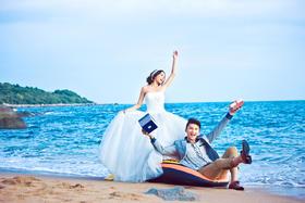【唯美海景婚纱照】永恒美婚纱摄影—海岸嬉戏