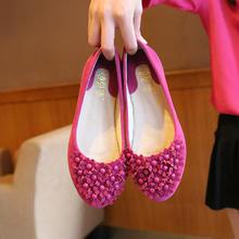 花朵圆头碎花玫红色红色粉红色平底防滑婚鞋单鞋姐妹鞋