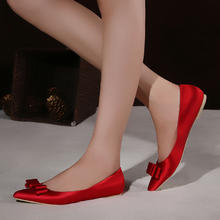 绸缎平底尖头红色新娘鞋香槟色婚鞋蝴蝶结平跟大码孕妇红鞋单鞋女