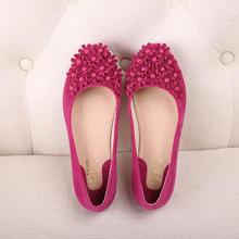 玫红色蝴蝶结粉红色防滑平底鞋女鞋婚鞋姐妹鞋孕妇鞋