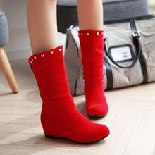 秋冬季新款女婚鞋圆头平底内增高女靴子铆钉鞋骑士靴韩版伴娘鞋
