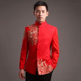 新郎男士秀禾服中式结婚礼服 红色中山装唐装古装敬酒服