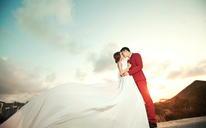 #波西米亚旅拍婚纱摄影# 三亚站 韩式婚纱照夕阳黄昏