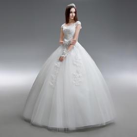 新款春夏定制简约一字肩新娘大码婚纱礼服齐地