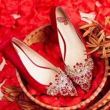 2017新款 唯美婚鞋水钻绸缎刺绣尖头细跟低跟中跟高跟女单鞋