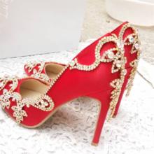 水钻红色新娘鞋婚鞋 细跟水晶鞋白色绸缎面套脚单鞋尖头小码秋夏