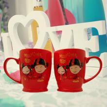 馈赠新人礼物 戏曲风新郎新娘情侣对杯红色陶瓷水杯漱口刷牙杯子