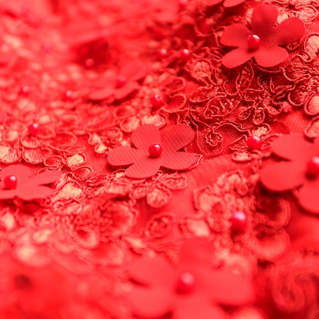 红色蕾丝花朵一字肩短款新娘结婚敬酒服露背婚礼婚纱