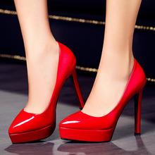 超高跟性感春秋新款细跟高跟鞋大小码恨天高尖头浅口婚鞋红新娘鞋
