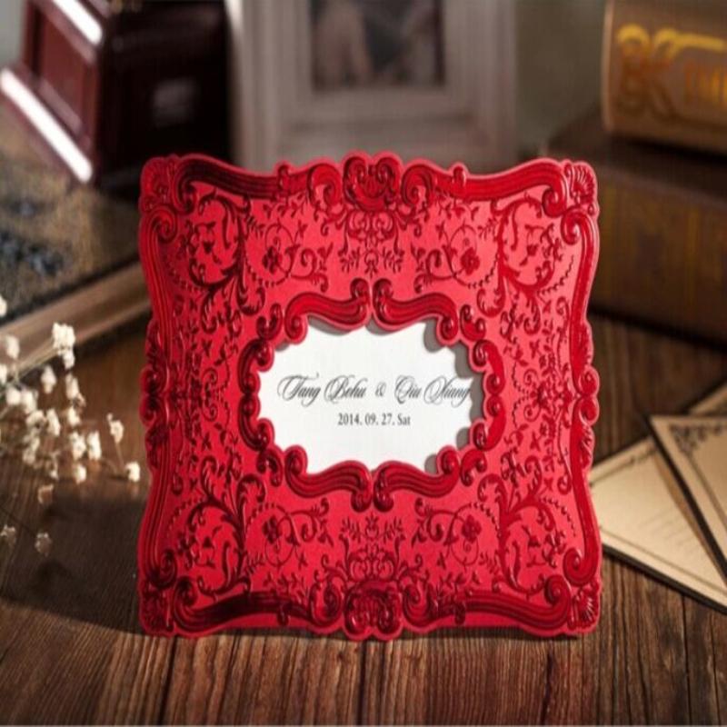 定制 唯思美请帖结婚创意2014红色请柬欧式蕾丝婚礼喜帖个性
