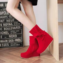 冬季绒面磨砂红色婚鞋蝴蝶结坡跟防水台马丁靴黑色高跟女士靴子潮