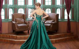 伯瓷皇后·绿色抹胸晚礼服