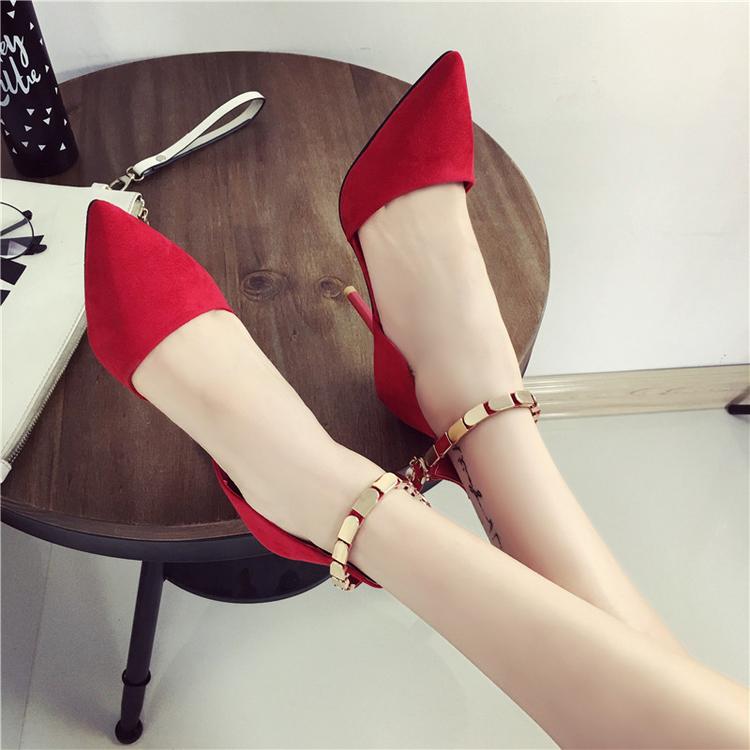 红色尖头高跟鞋细跟性感单鞋ol一字扣绑带单鞋女婚鞋