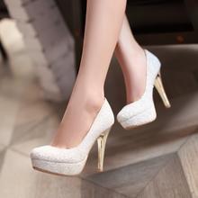 夏秋新款韩国公主水晶超高跟鞋婚鞋女新娘伴娘白色浅口单鞋防水台