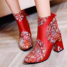 韩版潮秋冬新款粗跟高跟短靴女刺绣名族风红色婚鞋新娘鞋短靴婚靴