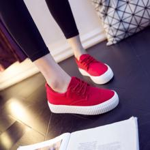 红色帆布鞋平底布鞋百搭厚底单鞋