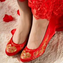婚鞋 坡跟 刺绣龙凤鞋 双喜鞋 结婚鞋 喜庆  7厘米