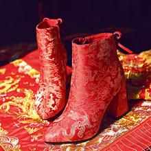 婚鞋 婚纱礼服结婚鞋子冬季保暖中跟棉靴子红色短靴女鞋 绣花鞋