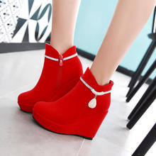 2016秋冬季女靴子短靴婚靴红色坡跟结婚鞋新娘鞋坡跟雪地靴红