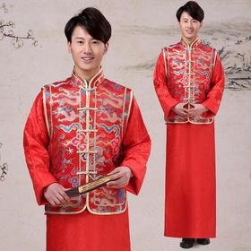 爱慕 新款秀禾服中式新郎结婚礼服唐装马褂红色敬酒服