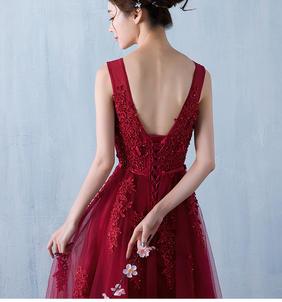 2016新款酒红色新娘结婚敬酒服长款修身显瘦立体花朵迎宾礼服